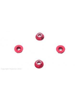 HYPERION 6MM FLANGE LOCK NUT SET RED LOW PROFILE HP-NUTLPRD6