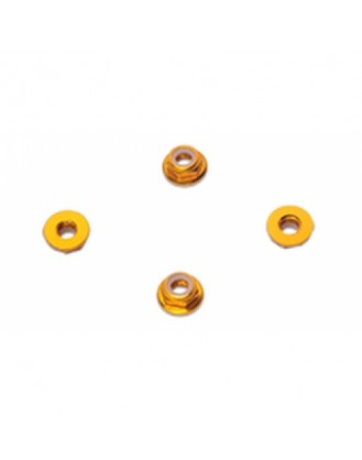 HYPERION 5MM FLANGE LOCK NUT SET YELLOW LOW PROFILE HP-NUTLPYL5