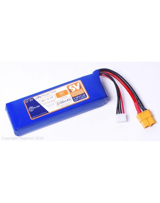 HYPERION G5 50C MAX 2100 MAH 3S 11.1V STANDARD VOLTAGE LIPOLY PACK W/XT60 HP50C2100S3