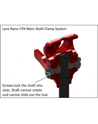 LX0344 - NANO CPX - Head Center Hub Red with Lynx Carbon Main Shaft Combo